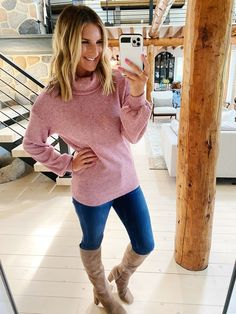 Chic Fall and Winter outfit // How to style knee high boots // How to style a cowl neck sweater // Fall fashion // Casual fall outfit // Fall fashion trends