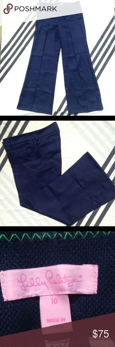 Lilly Pulitzer Blue Linen Cotton Blend Pants Sz 10 These beautiful textured pants from Lilly Pulitzer are in amazing condition! They are a lovely rich blue color with an attractive front and back pleat down the legs which make these perfect for work. All pockets, front and back are Faux and they are made of 73% linen and 27% cotton. Size 10. Lilly Pulitzer Pants