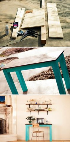 DIY: vintage desk/table. Use cheap ikea table and wood from hardware store