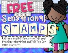 Use this for practive with letter recognition, phonics, and rhyming skills!This packet includes1. Stamp and Rhyme: Students stamp a picture and write rhyming words under each picture2. Stamp and Rhyme: Stamp and draw pictures of words that rhyme with a given CVC word.3.