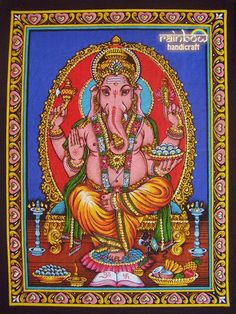 blue Indian hindu elephant god ganesh ganesha sequin coton fabric religious painting wall hanging tapestry ethnic home decor art India