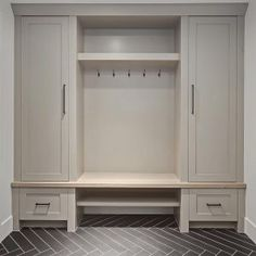 Grey Mudroom Cabinet. Grey Mudroom Cabinet and herringbone tile. Grey Mudroom Cabinet #Grey #Mudroom #Cabinet grey-mudroom-cabinet-with-gray-herringbone-floor-tile-verandainterior