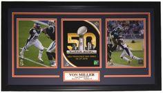 Von Miller Denver Broncos Framed Super Bowl 50 MVP Blue Collage - Sports Integrity Nfl Football, College Football, Football Memorabilia, Denver Broncos, Super Bowl, Baseball Cards, Sports, Collage Football, Sport