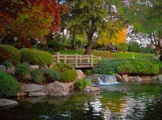 Woodward Park, Fresno, CA.  Footbridge on a Fall Day-- photo by Karen Mcclintock.
