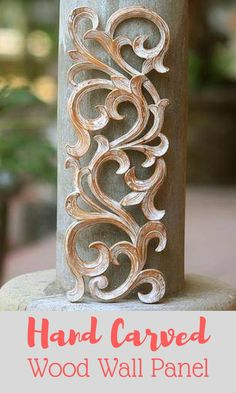 Masterfully carved from suar wood, this exquisite wall panel features a fern motif. This nature-inspired wall panel has an antiqued white finish, giving this piece a warm and rustic look. #ad #rustic #handcarved