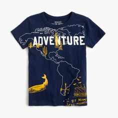 Crew for the Boys' world adventure T-shirt. Find the best selection of Boys Shirts & Tops available in-stores and online. Cheap Shirts, Boys T Shirts, Kids Nightwear, Boy Fashion, Fashion 2018, Kids Wear, Shirt Shop, Boy Outfits, Printed Shirts