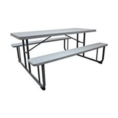 Industrial Grade 12F621 Picnic Table, 6 Ft, KD Construction, Gray
