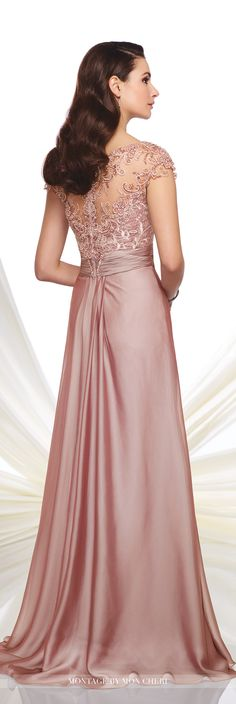 Montage by Mon Cheri - 216968 - Two-tone chiffon A-line gown with hand-beaded illusion cap sleeves and bateau neckline, sweetheart lace bodice with ruched chiffon natural waistline, beaded illusion back, softly gathered skirt with sweep train. Matching shawl included.Sizes: 4 - 20Colors: Rose,Wedgwood