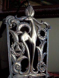 Antique Art Deco Bronze or Brass Magazine Rack Gorgeous