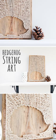 Modern hedgehog wall decor in white. Great wood themed decor for autumn / fall.
