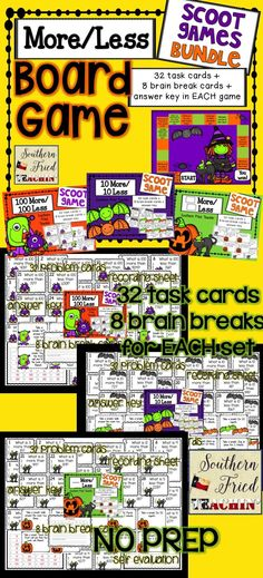 Halloween More Less Board Game | Bundle | Addition and Subtraction | Mental Math | Scoot | Task Cards | 32 Problems | 8 Brain Breaks | Problem Solving | NO PREP 10 More 10 Less; 100 More 100 Less; __ More __ Less; Halloween game board