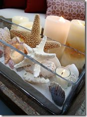 sand and glass...lovely way to enjoy sand and shells at home