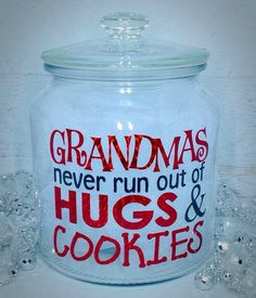Grandmas, Nana, cookie jar, who makes better cookies than grandma and noone can give better hugs. Fully customized Cookie Jar - Pick the colors you would like. Dont call her Grandma thats OK! Let us know what you call her and we will design it with the name provided! Need