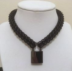 "1/2"" Diameter Black Aluminum Locking Chainmail Choker Collar - Fetish Kink Collar - Mens Womens Choker Collar - BDSM Sub Slave Choker Collar by JohnsChainmailShop from John's Chainmail Shop. Find it now at http://ift.tt/2kLKyui!"