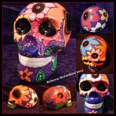 Hand painted ceramic skull.  Rebecca McFarland 2015