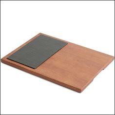 Acacia Wood Slate Cheese Board, 16-Inch