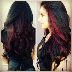 Very dark brown/black with red peekaboo highlights.... <3 Wanttttt I want with purple or blue