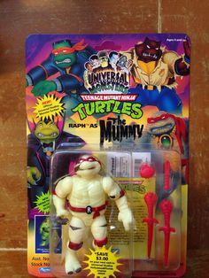 TMNT Universal Monsters Raphael as the Mummy MOC Vintage Teenage Mutant Ninja Turtles Action Figure Collectible Toy 90s Pop Culture Cartoons