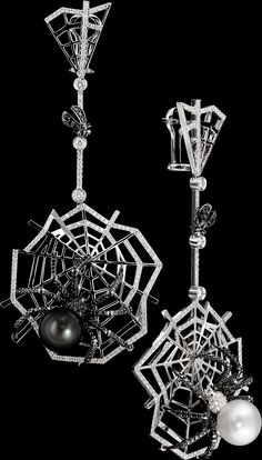 Masters Exclusive World of Insects Collection.  Earrings 9721 with a matching Brooch. 18K white gold, white and black saltwater pearls, diamonds, black diamonds