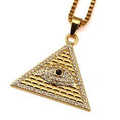 New Arrival Gold Illuminati Eye Of Horus Egyptian Pyramid With 23.6 Inch Chain For Men/Women Pendant Necklace Hip Hop Jewelry