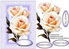 Beautiful White roses on script Frame 5 | Craftsuprint