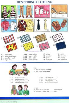 57 - DESCRIBING CLOTHING - Pictures dictionary - English Study, explanations, free exercises, speaking, listening, grammar lessons, reading, writing, vocabulary, dictionary and teaching materials