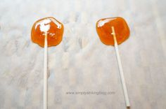 Homemade ginger honey lollipops (or candy) with only 2 ingredients. Great for colds, nausea, or morning sickness.