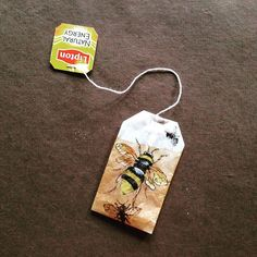 363 days of tea. Day 194. To #bee or not to... #recycled #teabag #art #buzz #tgif