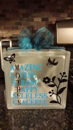 Mother's day glass block