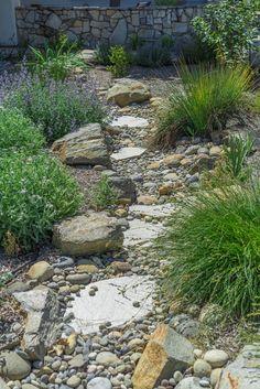 Dry Riverbed Landscaping, River Rock Landscaping, Front House Landscaping, Stone Landscaping, Landscaping With Rocks, Backyard Landscaping, Decorative Rock Landscaping, Rock Garden Design, Garden Design Plans