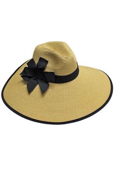 Tan Wide Brim Pinch Top Floppy Hat With Bow Tan Hat 7baf728b967d