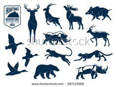 Free Vector set of miscellaneous animals silhouettes and outlines. Here you can find: elephant, rhino, bison, bear, bull, cow, giraffe, horse, pig, camel, rat, tiger, lion, crocodile, scorpion, snake, rabbit, monkey, gorilla, hedgehog, porcupine, skunk, squirrel, roe, anteater, donkey, mule, lizard. This is a sample of full pack which contains 150 designs. Download full pack visit - http://all-silhouettes.com/free-vector-animals/. All Free Download Vector Graphic Image fro...