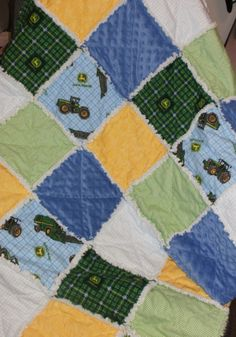 Blue and Green Baby Boy John Deere Rag Quilt by countrypickens,