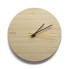 Natural Bamboo wall clock - timeless, modern design by TYDLOOS.