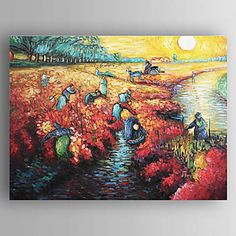 Hand-painted The Red Vineyard at Arles,c.1888 Oil Painting by Vincent Van Gogh  with Stretched Frame – USD $ 59.99