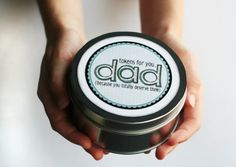 Tin for dads with tokens for back rubs, car washes, and experience gifts inside! #fathersday