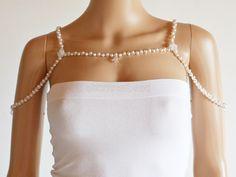 Swarovski crystal and white pearl bridal shoulder necklace. SHW0001