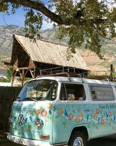 RentBettyBus is a 1968 VW Bus restored and painted by artist/muralist Lynde Mott. Volkswagen Bus, Vw Camper, Vw T1, Volkswagen Beetles, My Dream Car, Dream Cars, Subaru, Vw Classic, Combi Vw