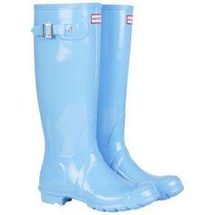 Hunter Women's Original Tall Gloss Wellington Boots - Cornflower Blue