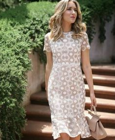 Tan and white round disc lace fit and flare sheath dress + white strappy sandals. Casual Dresses, Fashion Dresses, Dresses For Work, Summer Dresses, Fall Dresses, Elegant Dresses, Sexy Dresses, Formal Dresses, Wedding Dresses
