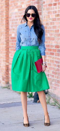 chambray + a-line skirt + leopard shoes. This is a great color combo. The shirt would need to be oxford cloth, and the skirt a bit longer...more sensible shoes...but a great look.