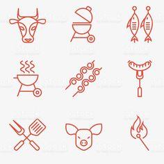 Conjunto de iconos de barbacoa y grill illustracion libre de derechos libre de derechos