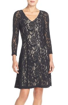 NYDJ 'Amelia' Lace Fit & Flare Dress available at #Nordstrom