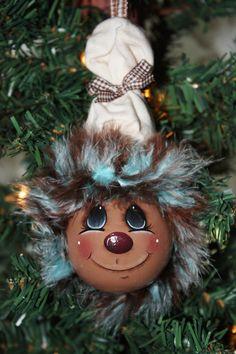 """Gingerbread"" light bulb ornament"
