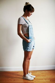 American Eagle Outfitters Cropped Top, Topshop Dungarees, Converse
