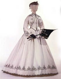 White cotton walking dress with black soutache braid work (c. 1862). What a great inspiration piece. Love the jacket and vest, and the skirt would be fun to tweak with a modern edge.