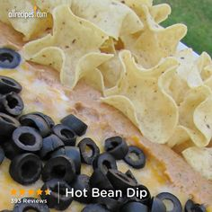 "Hot Bean Dip | ""This bean dip is sooooo good. It is easy to make and is always a hit. I make it for my Super Bowl party each year and it is always gone before half time!! Two cheeses and refried beans are baked with mild spices to create a creamy dip. Serve with tortilla chips."" http://allrecipes.com/recipe/hot-bean-dip/detail.aspx"