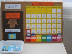"""Kartičky ročních období jsou barevně odlišné a stejnou barvu mají i názvy měsíců (podzim je oranžově a stejně tak i září, říjen, listopad). Zima je """"modrá"""", jaro """"zelené"""" a léto """"žluté""""."""