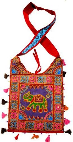 Cotton Canvas Heavy Embroidery Work Elephant Handcrafted Hippie Boho Tote With Fringes Indian Sling Shoulder Bag by Krishna Mart India, http://www.amazon.com/dp/B008R7HNK8/ref=cm_sw_r_pi_dp_ZlMiqb1D39QHC