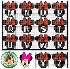 """Delicado Cantinho: Gráficos Ponto Cruz """"Monogramas Michey e Minnie"""""""